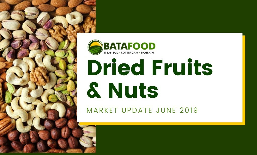 Dried Fruits Nuts Seeds Market Update June 2019 by supplier BATA FOOD Turkey Netherlands Bahrain