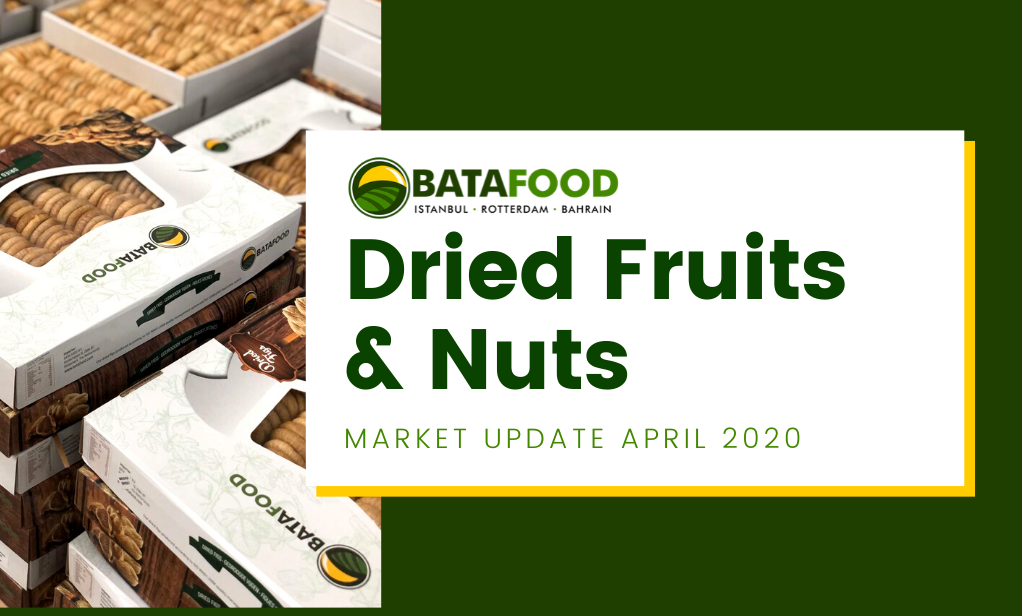 Dried Fruits Nuts Seeds Market Update April 2020 by supplier BATA FOOD Turkey Netherlands Bahrain