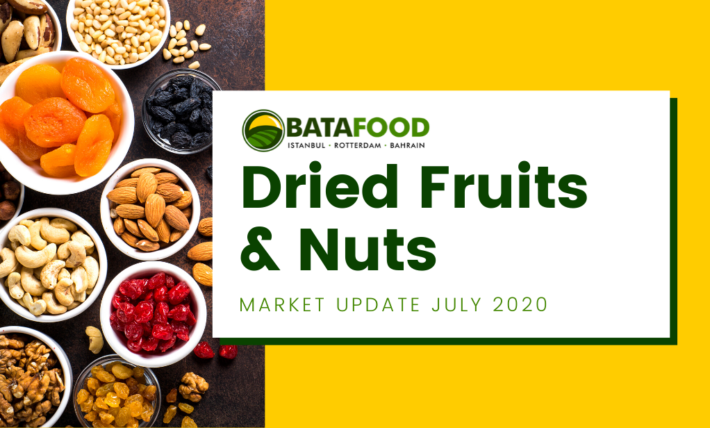 Dried Fruits Nuts Seeds Market Update July 2020 by supplier BATA FOOD Turkey Netherlands Bahrain